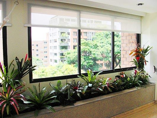 Jardineras de obra exterior a ambos lados del ventanal - Jardineras para interiores ...