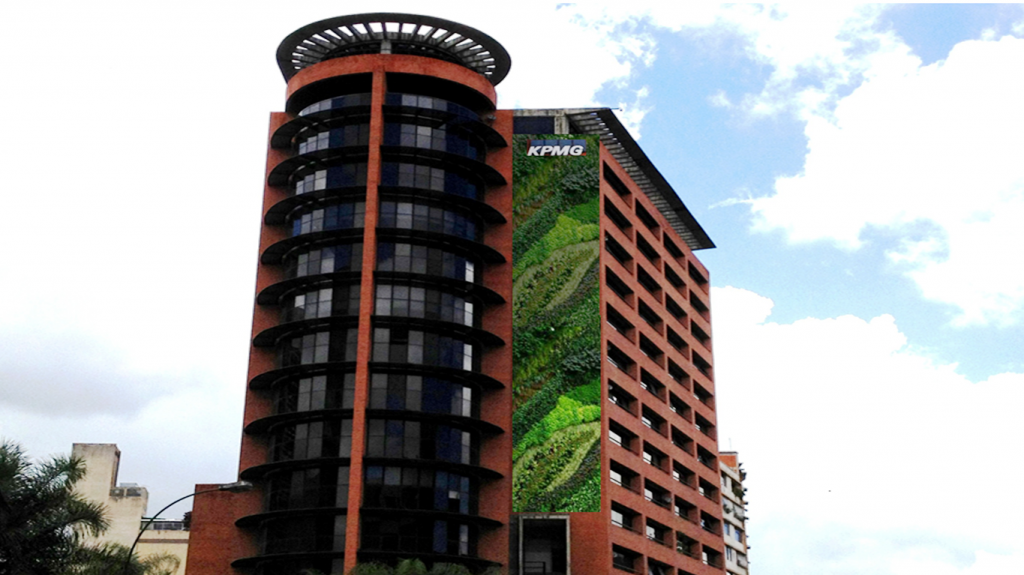 Proyecto jard n vertical monumental torre kpmg 400 mt2 for Proyecto jardineria